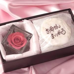 【4月27日予約分まで5月9日お届け可能 2010年母の日予約開始】草加煎餅DEお母さんありがとう・一輪のバラの花付 - 拡大画像