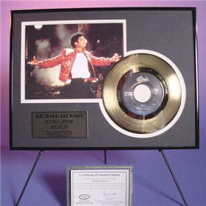 マイケルジャクソン・ゴールドレコード額装【18Kコーティング】A.Beat It(今夜はビートイット)視聴不可 - 拡大画像