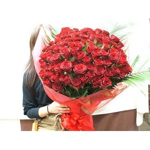 赤バラ100本花束 - 拡大画像