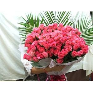 豪華!厳選、ピンクバラ100本花束 - 拡大画像