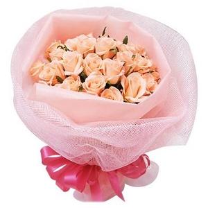 ピンクのバラ花束のミニブーケ - 拡大画像