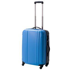 EMINENT(エミネント) ルートツートンカラータイプ TSAジッパーオープンスーツケース Mサイズ (スカイ×ブラック) - 拡大画像