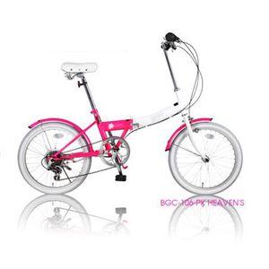 HEAVEN's(ヘブンズ) 20インチ カラフル 折り畳み自転車 6段変速 ピンク BGC-106-PK - 拡大画像