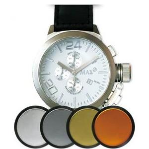 MAX XL WATCHES(マックスエックスエルウォッチ) レザーベルト腕時計 47ミリ 5-MAX521 シルバーホワイトフェイス 4枚交換レンズ付 - 拡大画像
