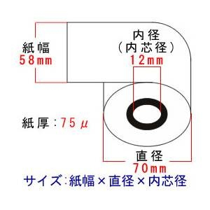 レジロール紙(感熱紙)58mm×70φ×12mm 【40巻】 - 拡大画像