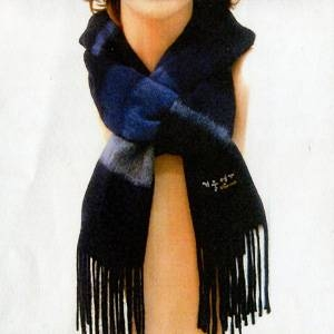 「冬のソナタ」オリジナル・マフラーコレクション 紺色(縞模様) - 拡大画像