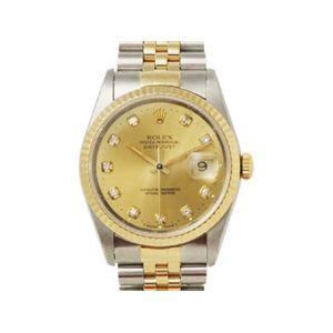 【中古A】ROLEX(ロレックス) 腕時計 デイトジャスト 16233G シャンパン文字盤 新ダイヤ - 拡大画像