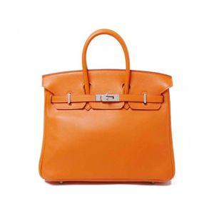 【新品同様】HERMES(エルメス) バッグ バーキン25 ヴォースイフト オレンジ シルバー金具 M刻印 - 拡大画像