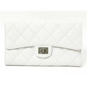 【新品】CHANEL(シャネル)2.55 マトラッセ三つ折長財布 キャビアスキン ホワイト/白 A35298  - 拡大画像