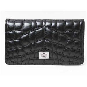【新品】CHANEL(シャネル)二つ折り長財布 黒/ブラック ボルドー A36422  - 拡大画像