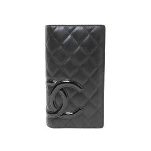 【未使用】CHANEL(シャネル) 2つ折り長財布 カンボンライン 黒/黒 - 拡大画像