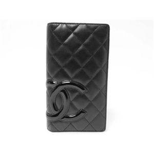 【中古A】CHANEL(シャネル) 2つ折り長財布 カンボンライン A26717 黒 - 拡大画像