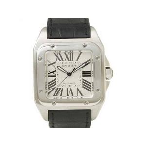 【中古A】Cartier(カルティエ) サントス100 W20073X8 文字盤:ホワイト ベルト:ブラック - 拡大画像
