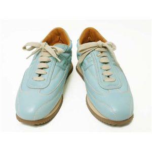 【現品限り】HERMES(エルメス) クイック #37 靴 カーフ ブルー 【未使用】 - 拡大画像