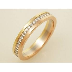 【現品限り】Cartier(カルティエ) K18スリーカラー トリニティ ウェディング ダイヤリング #51 【中古SA】 - 拡大画像