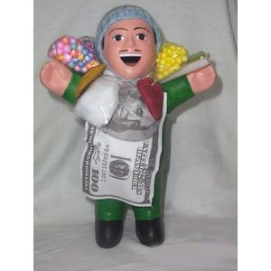 【ペルー産】伝説のエケッコー人形19cm グリーン(ミドルサイズ) - 拡大画像