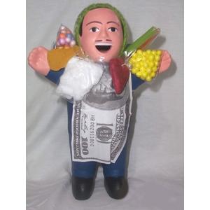 【ペルー産】伝説のエケッコー(エケコ)人形 19cm(ミドルサイズ) ダークブルー - 拡大画像