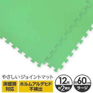 やさしいジョイントマット 12枚入 ラージサイズ(60cm×60cm) ミント(ライトグリーン)単色 〔大判 クッションマット 床暖房対応 赤ちゃんマット〕 - 拡大画像