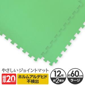 極厚ジョイントマット 2cm 大判 【やさしいジョイントマット 極厚 12枚入 本体 ラージサイズ(60cm×60cm) ミント(ライトグリーン) 】 床暖房対応 赤ちゃんマット - 拡大画像