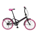 20インチ折畳自転車カラータイヤモデル ブラック×ピンク