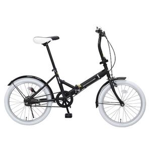20インチ折畳自転車カラータイヤモデル ブラック×ホワイト - 拡大画像