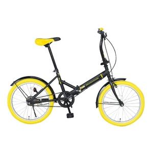 20インチ折畳自転車カラータイヤモデル ブラック×イエロー - 拡大画像