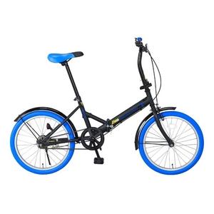 20インチ折畳自転車カラータイヤモデル ブラック×ブルー - 拡大画像