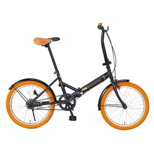 20インチ折畳自転車カラータイヤモデル ブラック×オレンジ - 拡大画像