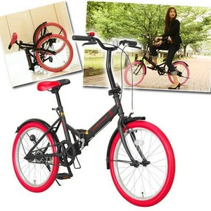 20インチ折畳自転車カラータイヤモデル ブラック×レッド - 拡大画像