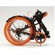 ドウシシャ 20インチ 折り畳み自転車カラータイヤモデル 外装6段変速付 ブラック×オレンジ GFD-206TOR - 縮小画像4
