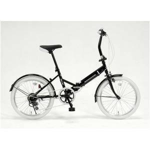 ドウシシャ 20インチ 折り畳み自転車カラータイヤモデル 外装6段変速付 ブラック×ホワイト GFD-206TWH  - 拡大画像