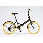 ドウシシャ 20インチ 折り畳み自転車カラータイヤモデル 外装6段変速付 ブラック×イエロー GFD-206TYE