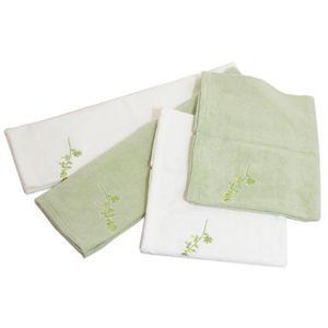パイル枕カバー Mサイズ4枚セット Aセット/(刺繍)ホワイト2枚、グリーン2枚 - 拡大画像