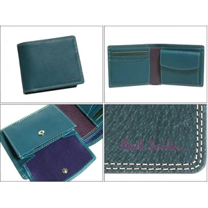 Paul Smith(ポールスミス) 小銭入れ付き 2つ折財布 ピッグスキン ターコイズ PSP617-37 - 拡大画像