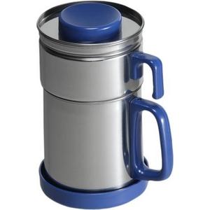 油こし器/オイルポット 【ブルー】 フィルター付き 日本製 『カラーコスロン』 〔キッチン用品 調理グッズ〕 - 拡大画像