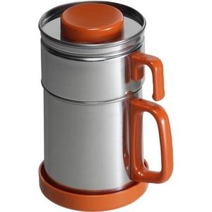 油こし器/オイルポット 【オレンジ】 フィルター付き 日本製 『カラーコスロン』 〔キッチン用品 調理グッズ〕 - 拡大画像