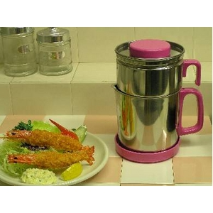 油こし器/オイルポット 【ピンク】 フィルター付き 日本製 『カラーコスロン』 〔キッチン用品 調理グッズ〕 - 拡大画像