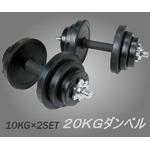 ラバーダンベルセット 【10kg×2個セット】 計20キロ 〔筋トレグッズ〕