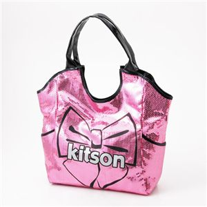 kitson(キットソン) スパンコールバッグ リボンプリント SEQUIN BOW TOTE Pink×Black - 拡大画像