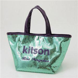 kitson(キットソン)スパンコール ミニトートバッグ SEQUIN MINI TOTE EmeraldGreen×Black - 拡大画像