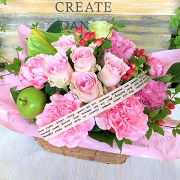 幸せの贈り物★バラのフラワーアレンジメント ピンク系