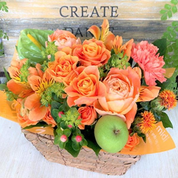 父の日などのプレゼントに「幸せの贈り物★バラのフラワーアレンジメント オレンジ系」