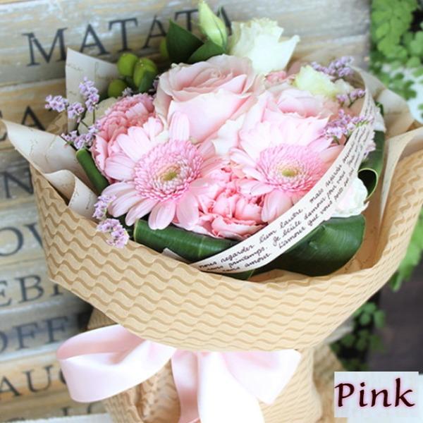 父の日などのプレゼントに「箱から出してそのまま飾れる!花瓶・水換えいらず♪フェリーチェブーケ ピンク」