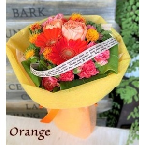 箱から出してそのまま飾れる!花瓶・水換えいらず♪フェリーチェブーケ オレンジ - 拡大画像
