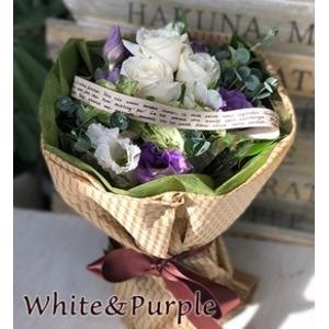 箱から出してそのまま飾れる!花瓶・水換えいらず♪フェリーチェブーケ ホワイト&パープル - 拡大画像