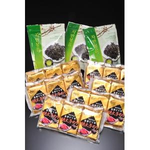 韓国海苔 ピリ辛明太子海苔(8切8枚3袋×6パック)+韓国おやつ海苔(3袋)詰合せセット - 拡大画像
