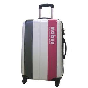 mobus(モーブス) ジッパーハードキャリー 4輪 ホワイト/ピンク 71992 スーツケースTSAロック付き - 拡大画像