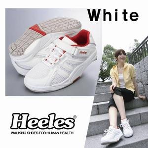 エクササイズウォーキングをサポート ウォーキングシューズ Heeles(ヒーレス) ウォーカー ホワイト 23.5cm - 拡大画像