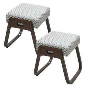木製スタッキングスツール 「座・楽椅子」 【2脚組】 高さ40cm (和室/洋室/仏事/来客用) - 拡大画像
