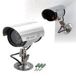 防犯ダミーカメラ LEDランプ付き 電池式 首振り角度調整可 (防犯対策)